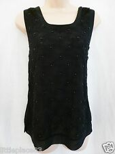 BNWT NEXT NEW Black shell top chiffon embroidered  blouse top Size 8