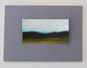 "SUMMER GREEN MOUNTAIN LANDSCAPE Miniature Pastel Painting 1""x2"" Julia Garcia NEW"