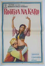 INDIAN VINTAGE OLD BOLLYWOOD MOVIE POSTER- ROOTHA NA KARO/SHASHI KAPOOR,NANDA