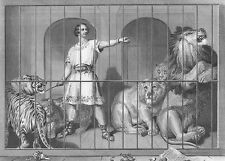 MEAN LION TAMER IN CAGE WHIPS TIGERS LEOPARD ~ 1879 LANDSEER Art Print Engraving