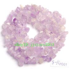 "6-8mm Natural Amethyst Freeform Gravel DIY Gemstone Loose Beads Strand 16"""