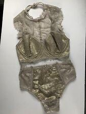 Victorias Secret Dream Angels High Neck Bra H/W Panty Set 34DD,M Metallic NWT