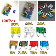120pcs Assorted Small Mini Blade Fuse Car Auto Fuse Box 5/7.5/10/15/20/25/30 Amp