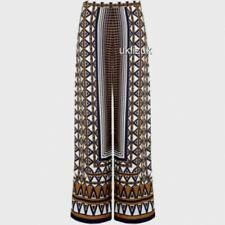 Topshop Aztec Print  Wide Leg Floaty Trousers Palazzo Pants - Size 10