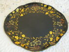 Antique Hand Painted Black   Gold Floral Vines Service Buffet Country Tole Tray