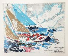 "Leroy Neiman ""America's Cup"" Hand & Plate Signed Silkscreen Sailing Boat Art"