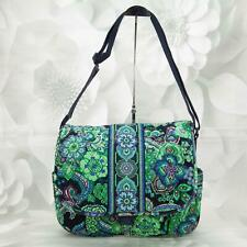 Vera Bradley Women's Messenger Bag Large Paisley Green Blue W/Adjustable Strap