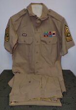 Early Vietnam War Sergeant Major Khaki Tropical Worsted Uniform Korea Vet Badged