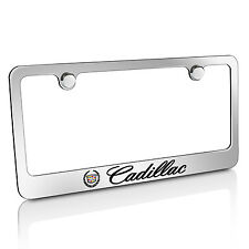 Cadillac Chrome Brass Metal License Plate Frame, Official Licensed, Warranty