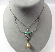 Vintage Deco Sterling Silver Pierced Filigree Festoon Pendant Lavalier Necklace