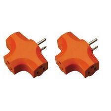 2 Pcs 3 Way Outlet Wall Triple Tap Adapter Grounded Tri Tap Electrical Splitter