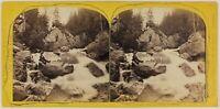 Suisse Gorges Da Rosenlaui Foto Stereo Engalnd PL53L Vintage Albumina c1865