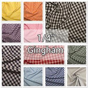 "1/4"" Gingham Polycotton Fabrics 44""/112cm by the Metre - School Dress, Children"