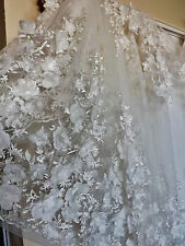 Bridal Wedding Ivory Embroidered 3 D Embossed Flower Net Lace Fabric
