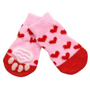 4Pcs Pet Dog Cat Non-slip Socks Puppy Knit Warm Bottom Shoes Slippers XXS XS S M