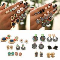 Hot Summer Boho Vintage Crystal Gem Flower Ear Stud Earrings Sets Ladies Gift