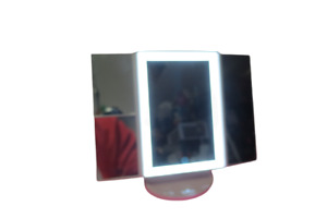 """Suprent Tri Fold Vanity Make Up Lighted Mirror Uses Batteries 11""""T x 7""""W White"""