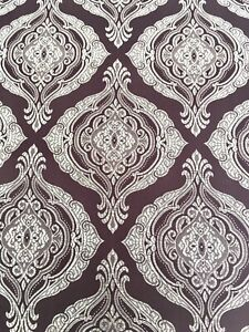 "5 1/3yds Purple&Silver Damask? Light Weight Upholstery/Drapery Fabric 58""x 192"""