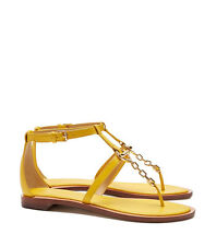 NIB Tory Burch Toggle Flat Sandals Shoes Reptile Yellow Size 6.5 style 21158512