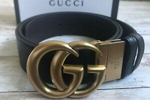 Gucci Reversible Belt Gold GG Buckle Brown Black size 95 / 32-34 waist