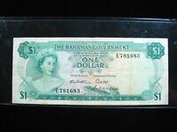 BAHAMAS $1 DOLLAR 1965 P18b 3 SIGNATURES 83# CURRENCY BANK BANKNOTE MONEY