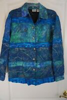 Chico's Embroidered Beaded Shirt Jacket Long Sleeve Silk Blue Size 1