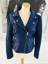 RIVER ISLAND royal blue leather biker style jacket size 12