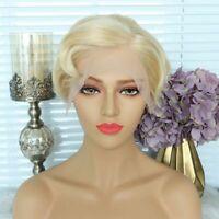 Ash Blonde Human Hair Bob Wig Virgin European Glueless Full Lace Front Wigs Wavy