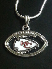 Kansas City Chiefs Necklace Pendant Sterling Silver Chain NFL Football