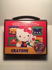 Sanrio Original hello kitty vintage HTF 1996 Mini Crayons Case Box Storage Kit