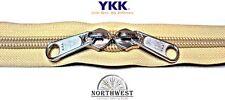 YKK Nylon Coil Zipper Tape # 10 Gold 5 yards with 10 Nickle Zipper Sliders