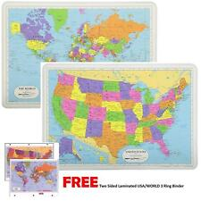 Painless Learning Educational Placemats USA and World Maps FREE 3-Ring Binder