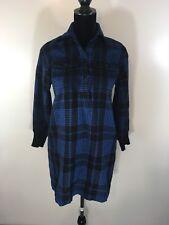 Women's Guy Laroche *Vtg* Blue & Black Plaid Wool Shirt Dress L/S  Size 40
