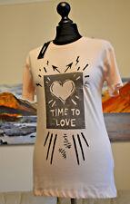 DIESEL BNWT T-SULLY XX T-Shirt Time To Love Peach Womens Sz. XS Crew Neck SS