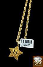 Real 10k Yellow Gold & Diamond Star Emoji Charm with 26 Inch 3mm Rope Chain, Men