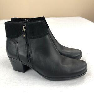Clarks Women's Leather Suede Emslie Twist Booties In Black Size 9