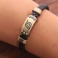 Anime Naruto Bracelet Leaf Mark Black Wristband Cosplay Bracelets Unisex-Charm