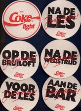 6 DIFFERENT COCA COLA  LIGHT /  COASTERS FROM THE NETHERLANDS DE17015