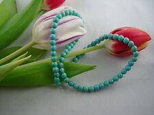 70 Perlen 6mm Halbedelstein Türkis-Imitat geädert  Türkenit aus Magnesit/Howlith
