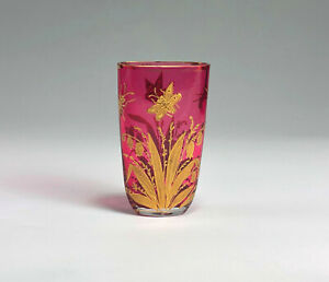Wonderful Moser Pink Cranberry Glass Gold Decorated Spa Glass
