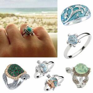 Fashion Cute 925 Silver ZirconTurtle Ring Women Men Evening Party Jewelry Gifts