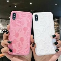 High quaity Leather Phone Case For iPhone 7 5 X Plus Mickey Minnie Mouse Cartoon