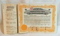 1928 Huntingburg Furniture Company Huntingburg Indiana Stock Certificate