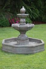 """44"""" Opal Fountain on Octagonal Pool - Outdoor Concrete Garden Water Fountain"""