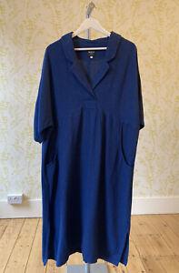 WALL LONDON navy lagenlook heavy cotton blend loose midi dress L - XL pockets