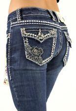 LA Idol Rose 2 Rhinestone Studded Medium Wash Denim Bootcut Flap Pocket Jeans