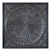 Embossed Medallion Square Ornate Mandala Wall Art  Old World Gothic Metal Plaque