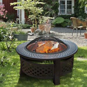 Outdoor XL Steel Firepit Backyard Garden Heater Stove Wood Burning BBQ Fire Pit