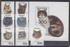 Tanzania Sc 967A-967H Mnh. 1992  00004000 Domestic Cats incl s/s, Vf