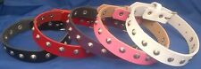 Leather Choker & Round Studs Necklace Choice of Colours Hand Made Real Leather